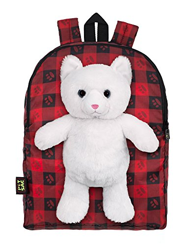 Plush Stuffed Cat Toy Doll with Pull Out Backpack, Red, O...