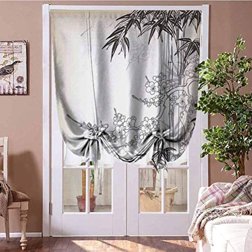 GugeABC Roman Shades Japanese Bamboo Decor Thermal Insulated Blackout Curtain Abstract Tree and Bamboo Pattern Floral Leaf Design Backdrop Classic Leaf Pearls 48″ W x 72″ L