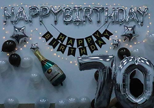 70 Birthday Party Decorations Kit Black and Silver
