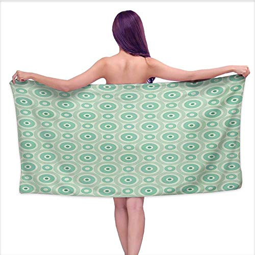Onefzc Travel Bath Towel Mint Big and Little Circles in Symmetrical Composition with Vintage Pastel Colors Super Soft Highly Absorbent W40 x L10 Mint and Pale Green