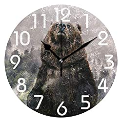 Dozili 3D Stylish Wild Bear and Pine Forest Print Round Wall Clock Arabic Numerals Design Non Ticking Wall Clock Large for Bedrooms,Living Room,Bathroom
