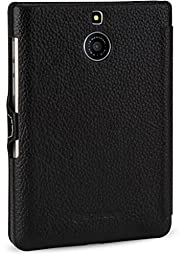 StilGut Book Type with Clip, Genuine Leather Case for BlackBerry Passport Silver Edition, Black