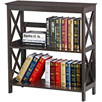 Topeakmart 3 Tier Espresso Finish Wood Bookcase Bookshelf Display Rack Stand Storage Shelving Unit