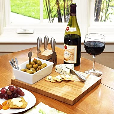 Picnic at Ascot Buxton Bamboo Cheese Board Set with 4 Tools