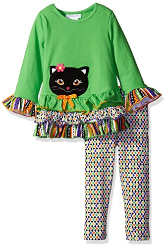 Bonnie Jean Toddler Girls' Cat Appliqued Knit Halloween Legging Set, Green, 2T -
