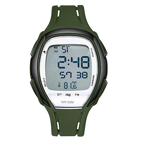 Price comparison product image Digital Watches Waterproof Sports Watch EL Backlight Stopwatch Thermometer Temperature Sensor(Dark Green)