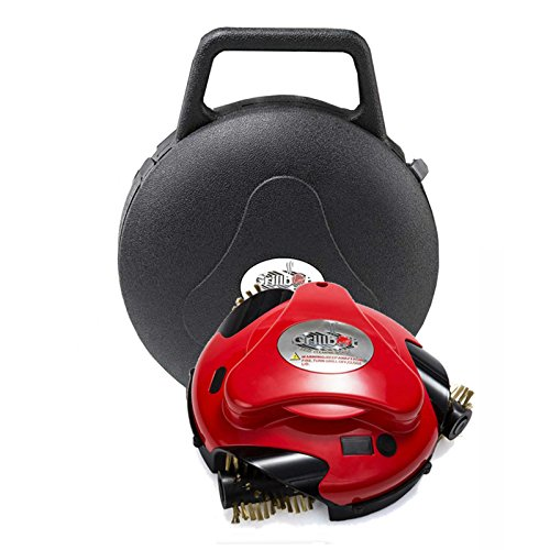 Grillbot Automatic Grill Scrubber and Cleaner with Protective Carrying Case, includes pre-installed Brass Brushes (Red)