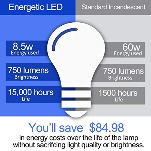 LED Light Bulbs 60 Watt Equivalent, A19, Warm White 3000K, E26 Base, Non-Dimmable, 750lm, UL Listed, 16-Pack