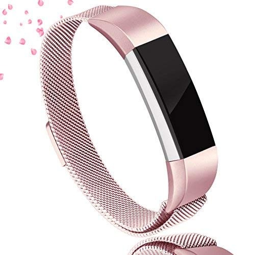 AK Metal Replacement Bands for Fitbit Alta Bands, Adjustable Magnetic Closure Stainless Steel Wristbands for Fitbit Alta/Alta HR/Alta Ace