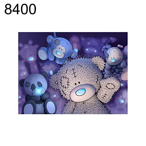 lightclub 20x25cm Bear Owl Cross Stitch Craft DIY Mosaic Partial Round Diamond Painting - 8400