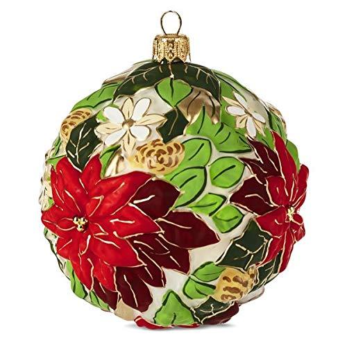 HMK Hallmark 2999HDR1590 Poinsettia Ball Blown Glass Ornament