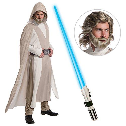 Star Wars Episode VIII: The Last Jedi - DLX Mens Luke Skywalker Costume with Wig and Lightsaber - XL