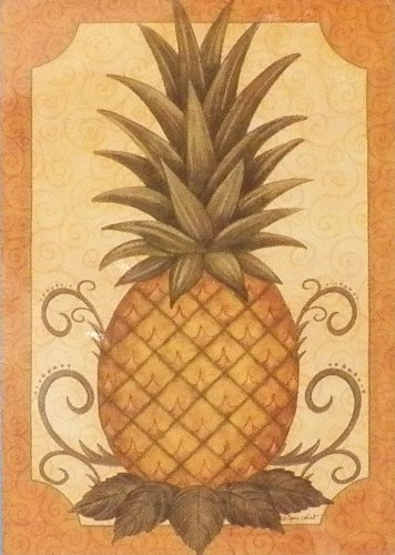 Pineapple LARGE Appliqued Art Flag 28 Inch X 40 (Mini Appliqued Garden Flag)