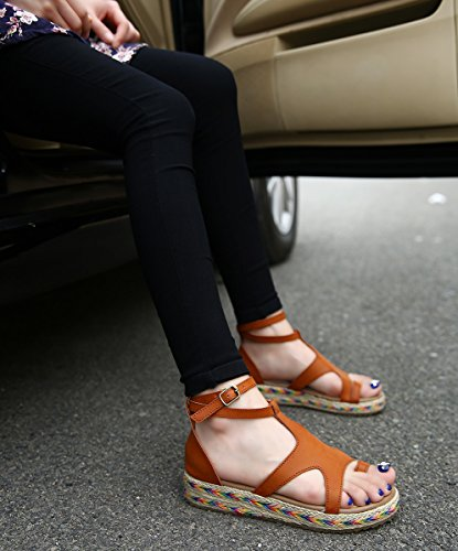 Wealsex Primavera y Verano Sandalias De Mujer Hebilla Zapatillas De Moda Tamaño 34-43 Marrón