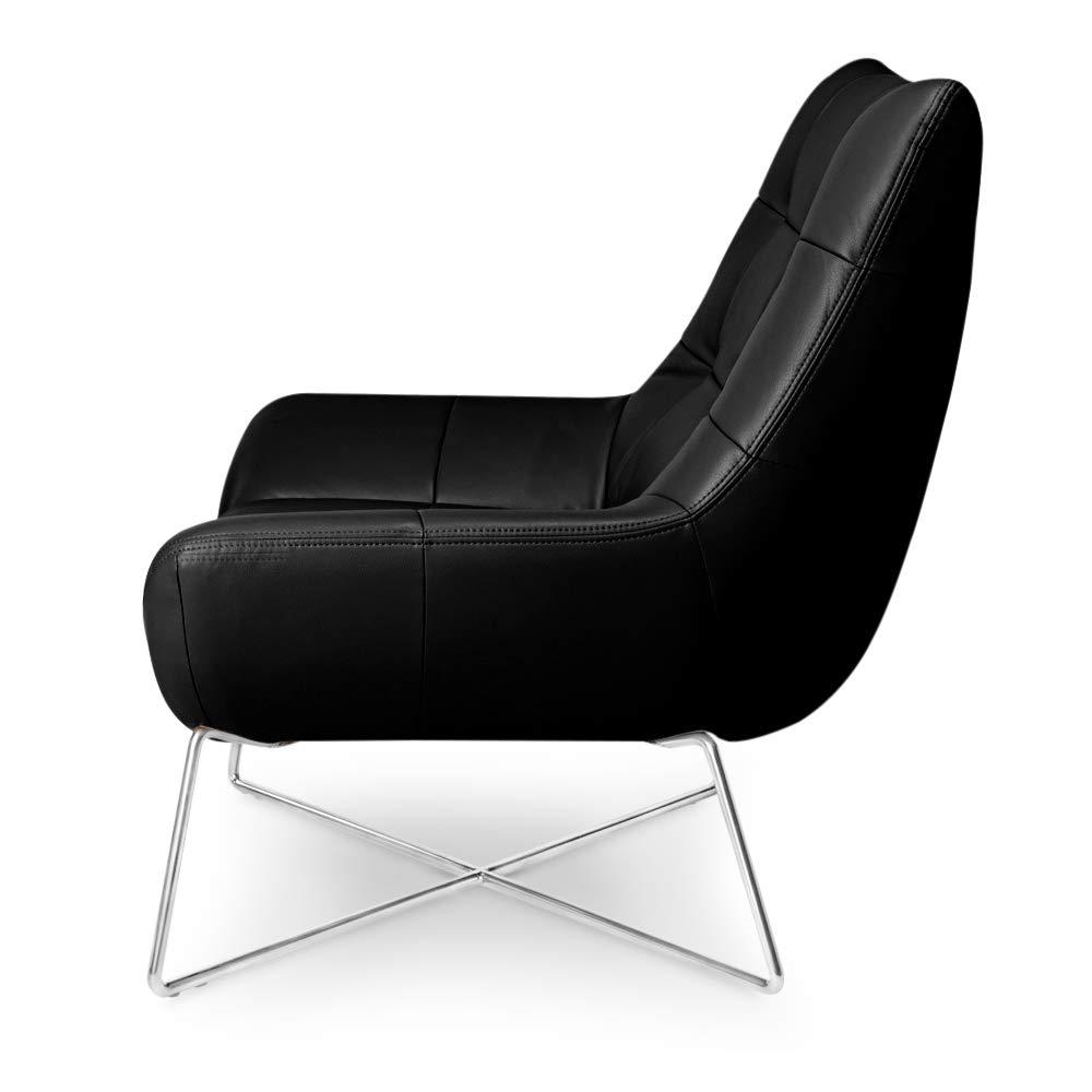 Zuri Furniture Medici Tufted Leather Modern Accent Chair – Black