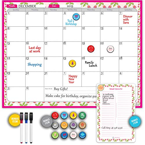 Magnetic Refrigerator Calendar by StriveZen, Dry Erase Fridge Calendar with Bonus Grocery List/Notepad, 3 Markers & Magnetic Reminder Stickers, 17x13 Inches