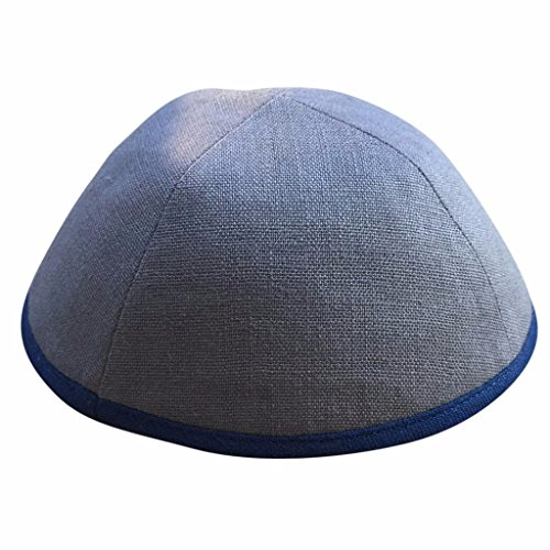 cheap iKIPPAH Solid Grey Linen with Navy Rim 8.5 inch Yarmulke big discount