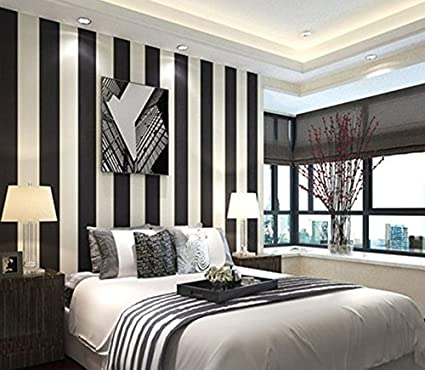 Modern Extra-thick Non-woven Black and White Striped ...