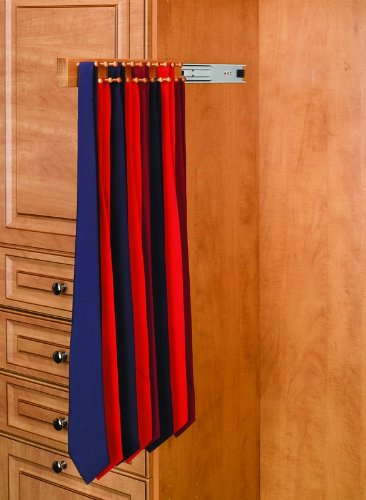 Rev-A-Shelf CWSTR-14B-1 14in Maple Tie Rack Black Side Mount by Rev-A-Shelf