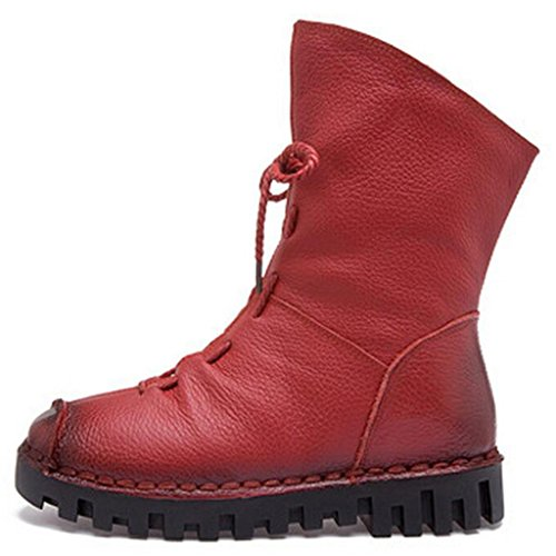 Made Lace Red Leather Zip Short Boots Hand Womens Binying up 17nEqpw