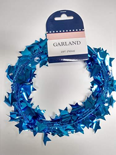 - Greenbrier International Red White & Blue Star Tinsel Garland, 25 ft