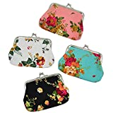 Oyachic 4 Packs Coin Pouch Canvas Card Purse Clasp Closure Rose Pattern Wallet Christmas Birthday Gift 4.7L X 3.5 H 4 pack Rose
