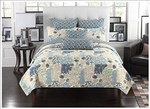 Mk Collection 3pc Bedspread Coverlet Floral Modern Blue Beige 0033 (Queen)