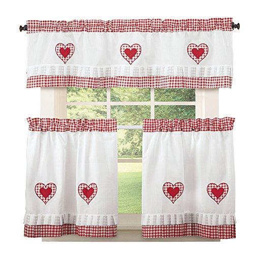 Gingham Heart Cafe Kitchen Curtain Tier Set w/ Rod Pocket Top, Burgundy, 58