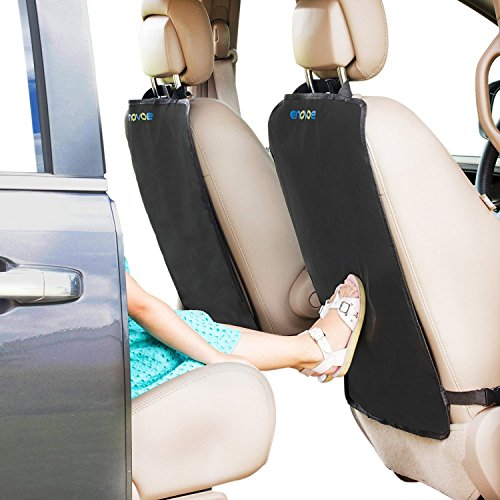 Kick Mats - 2 Pack - Premium Quality Car Seat Protector Mat Best Waterproof Protection of Your Upholstery from Dirt, Mud, Scratches - Extra Large Car Seat Back Covers by Enovoe