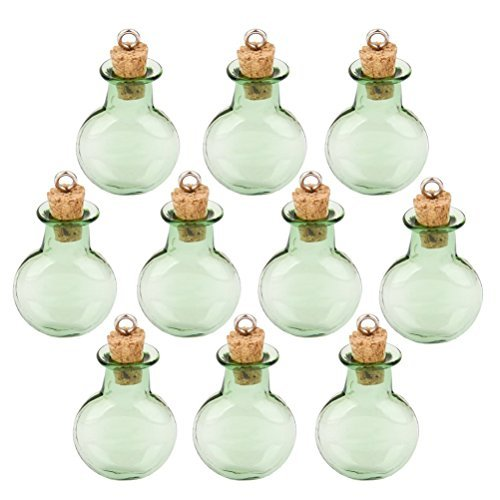 Tinksky Mini Tiny Green Glass Cork Bottles Round Flat Vial Wishing Bottle DIY Pendants for DIY, Arts Crafts, Projects, Home Decoration, Birthday Gift, Party Favors, Pack of 10 - Glass Craft Bottles