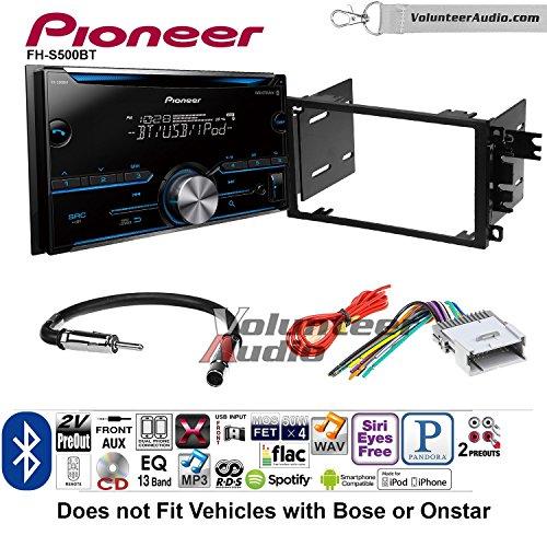 Volunteer Audio Pioneer FH-S500BT Double Din Radio Install Kit with CD Player Bluetooth Fits 2003-2005 Chevrolet Blazer, 2003-2006 Silverado, 2003-2006 Suburban (Cd Mix Player Dual 2)