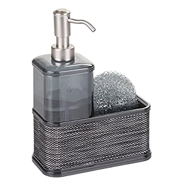 mDesign Decorative Plastic Kitchen Sink Countertop Liquid Hand Soap Dispenser Pump Bottle Caddy with Storage Compartment - Holds and Stores Sponges, Scrubbers and Brushes - Smoke/Black