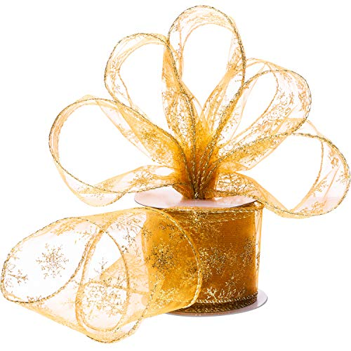 Boao 6.3 cm in Width Organza Ribbon Snowflake Wired Sheer Glitter Ribbon with Spool for Christmas Decoration, Gift Wrapping, Party Decoration (Gold, 10 -