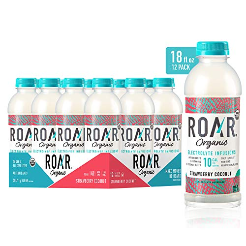 ROAR Organic Electrolyte Infusions 12-Pack - USDA Organic with Antioxidants & B-Vitamins | Low-Calorie, Low-Sugar, Low Carb Beverage (Strawberry Coconut)