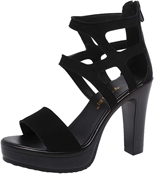 Womens Peep Toe Buckle Strap Pumps High Heel Platform Party Prom Sandals New