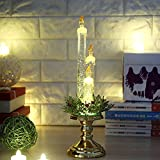 GEZICHTA Window LED Candle Lamps, Elegant Wireless Flameless Battery Operated Light Decoration for Home Bar Churche Halloween Christmas Birthday Party(Gold)