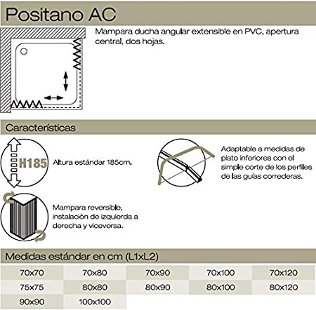 Mampara de ducha plegable de PVC, 2 lados, 70 x 70 cm: Amazon.es: Bricolaje y herramientas
