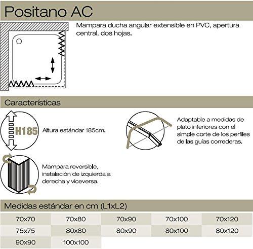 2 lati 70x90 cm Box Doccia in PVC a soffietto