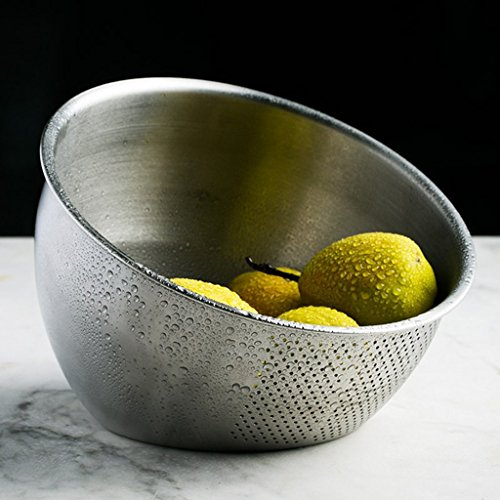 He Xiang Ya Shop Stainless steel cleaning fruit and vegetable basket kitchen tool drain basket home rice washing storage basket thick desktop fruit and vegetable storage rack by He Xiang Ya Shop (Image #3)