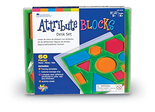 Learning Resources Attribute Blocks Desk Set, 60 Pieces