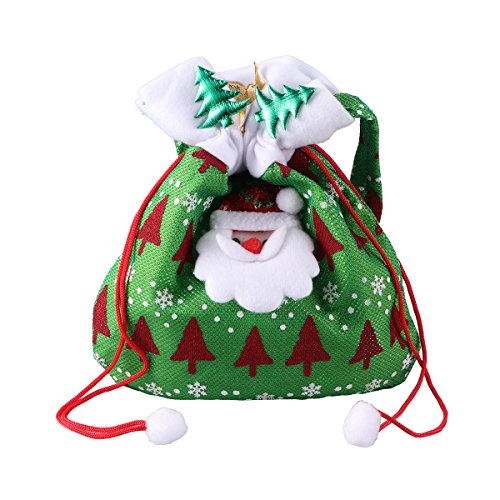 Chocolate Foil Santa - Tinksky Christmas Candy Bags Cute Santa Claus Drawstring Gift Treat Bag Reusable Fabric Goodie Bag Pocket Sweet Candy Xmas Stocking Handbag Christmas Ornaments Home Party Decor