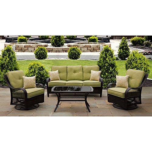 Hanover Orleans Patio Lounge Set (4-Piece) Green ORLEANS4PCSW