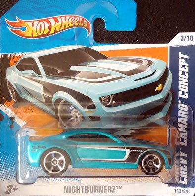 Car Concept Camaro (2011 Hot Wheels CHEVY CAMARO CONCEPT (Teal) #113/244, Nightburnerz #3/50 (SHORT CARD))