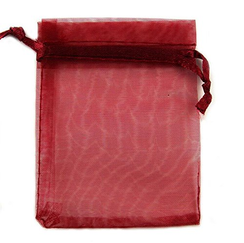 "Organza Wedding Party Favor Bags- Package of 100 (3""x4"", Wine red)"