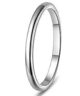 SJ Fashion 2mm Titanium Womens Plain Dome Polished Wedding Band Ring Size 6