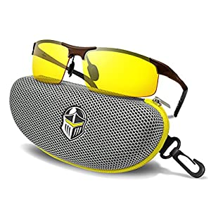 BLUPOND Safety & Night Driving Glasses - HD Vision Yellow Tinted Polycarbonate Lens - Sports Sunglasses for Men and Women Plus Car Clip Holder