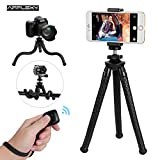 Phone Tripod, AFFLEXY 11 Inch Flexible and Adjustable iPhone Tripod Mount with Remote and Universal Clip, Portable Tripod for iPhone, Android Phone, Camera, Webcam and GoPro (All Black, 11 inch)