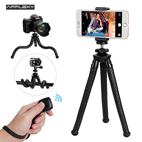 Phone Tripod, AFFLEXY 11 Inch Flexible and Adjustable iPhone Tripod Mount with Remote and Universal Clip, Portable Tripod for iPhone, Android Phone, Camera, Webcam and GoPro (All Black, 11 inch) by AFFLEXY