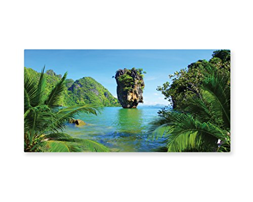 Lunarable Island Wall Art, James Bond Island Phang Nga in Thailand Filming Cliff Geological Formation Tropics, Gloss Aluminium Modern Metal Artwork for Wall Decor, 23.5 W X 11.6 L Inches, (James Bond Girls Costume)