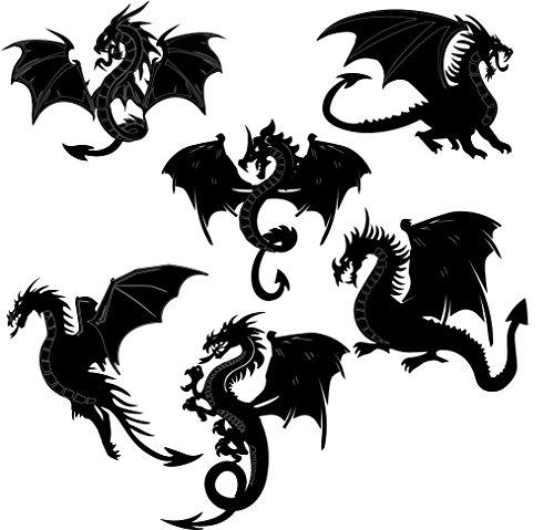 Dragons Scrapbooking Laser Cut Chipboard - 6 Piece Set Black Color